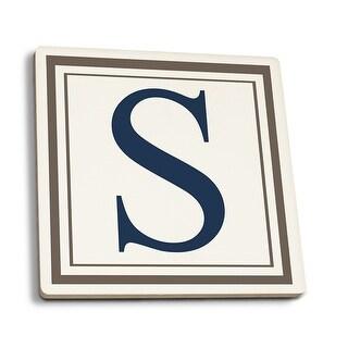 Monogram - Estate - Gray & Blue - S (Set of 4 Ceramic Coasters)