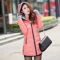 Korean winter irregular design cuff sleeve female Cotton Hooded down coat female fashion thickening slim overcoat down jacket