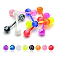 "Flexible Shaft UV Barbell with UV Marble Ball - 14 GA 5/8"" Long (6mm Balls) (Sold Ind.)"