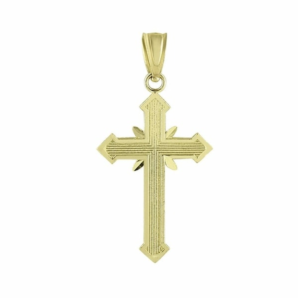 10K Yellow Gold Cross Pendant Jesus Crucifix 1.0 Inch Christ Charm