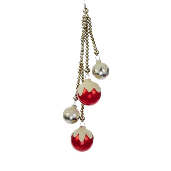 """Alpine Chic Red and Silver Snow Covered Ball Staggered Drop Christmas Ornaments 9.5"""""""