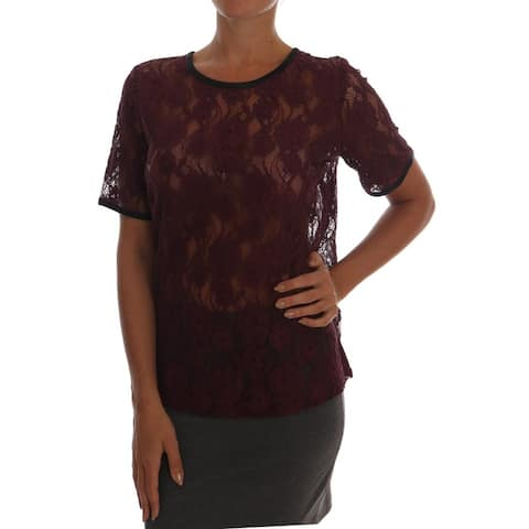 Dolce & Gabbana Purple Floral Lace Blouse Women's Top
