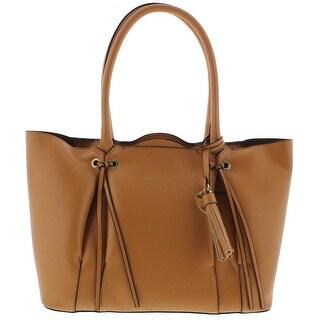 London Fog Womens Shopper Handbag Faux Leather Tote - Fawn - LARGE