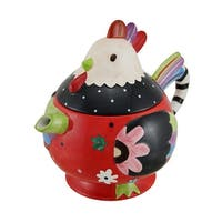 Whimsical Hand Painted Ceramic Rooster Teapot 33 Oz