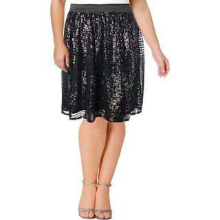 Modamix Womens Plus Pleated Skirt Sequined Above Knee