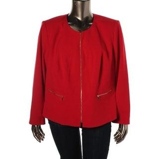 Calvin Klein Womens Plus Collarless Long Sleeves Blazer - 16W