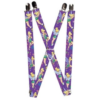 Buckle Down Women's Elastic Disney Tinker Bell Print Suspenders - tinker bell - One Size