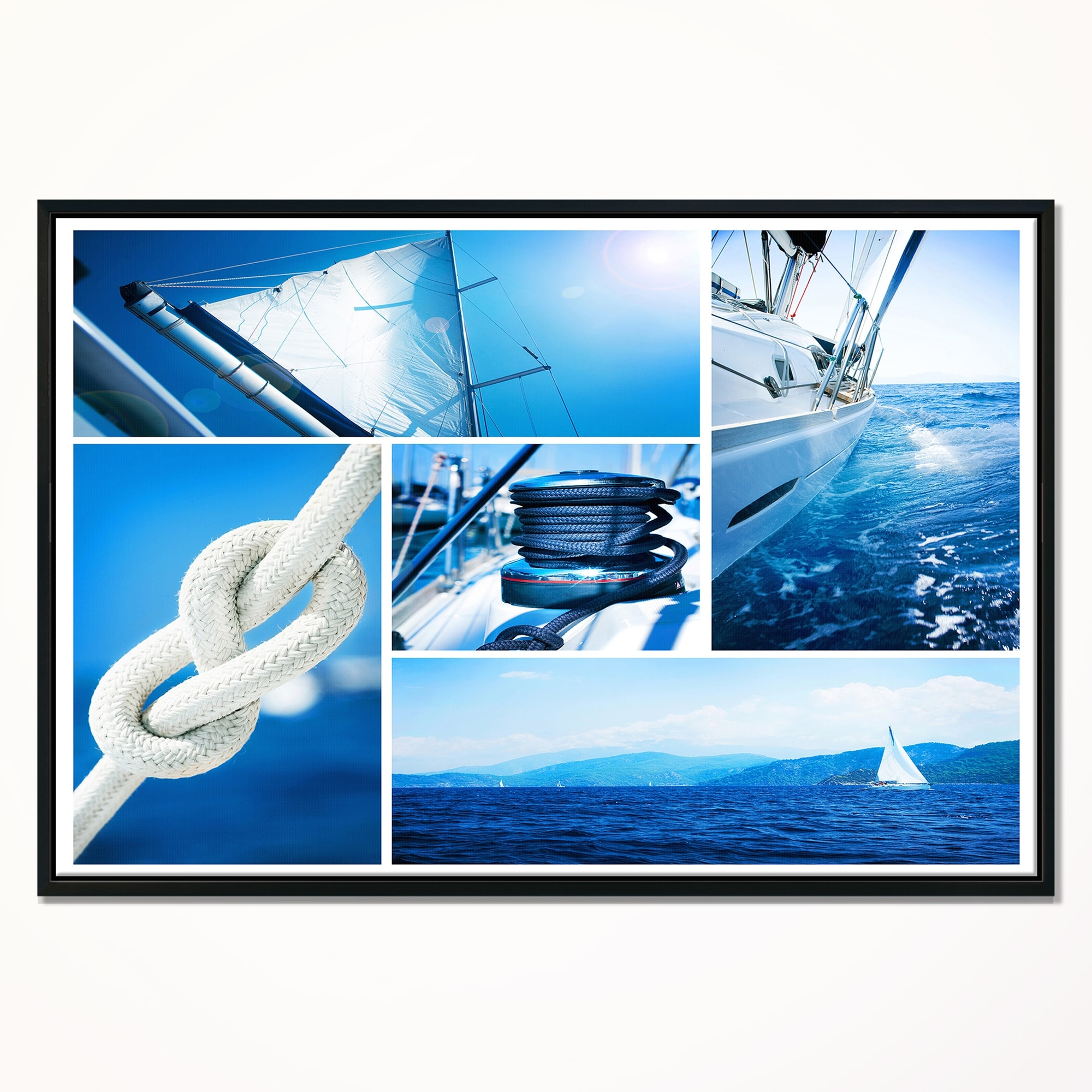 Designart Sailing Yacht In Blue Sea Collage Large Seashore Framed Canvas Wall Art Overstock 18959706