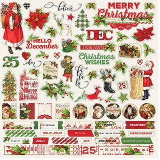 "Simple Vintage Christmas Cardstock Stickers 12""X12""-Combo"