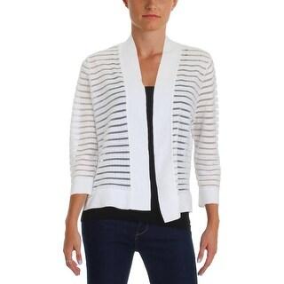 Kasper Womens Cardigan Sweater Sheer Striped - M