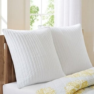 INK Plus IVY II11-227 Cotton Quilted Euro Sham With Embroidery - White