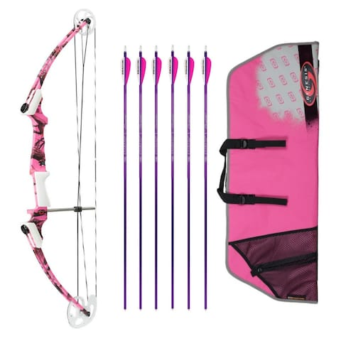 Genesis Archery Original Bow (RH, Pink Camo) with 6 NASP Arrows & Case