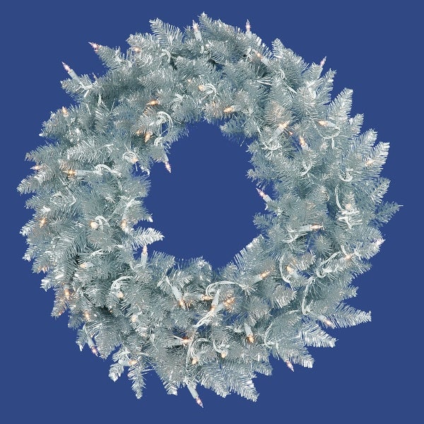 "36"" Silver Fir Wreath DuraL LED 100WmWt"