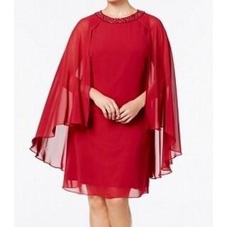 SL Fashions Womens Plus Chiffon Cape Shift Dress