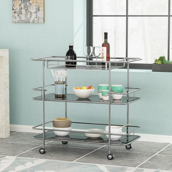 """Bridger Modern 3 Tier Bar Cart with Glass Shelving by Christopher Knight Home - 34.00"""" L x 18.50"""" W x 31.50"""" H. Opens flyout."""