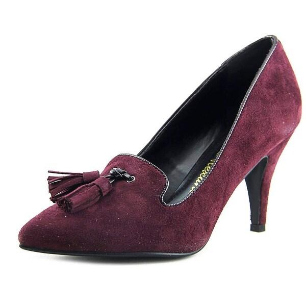 Athena Alexander Dylan Women Pointed Toe Suede Burgundy Heels