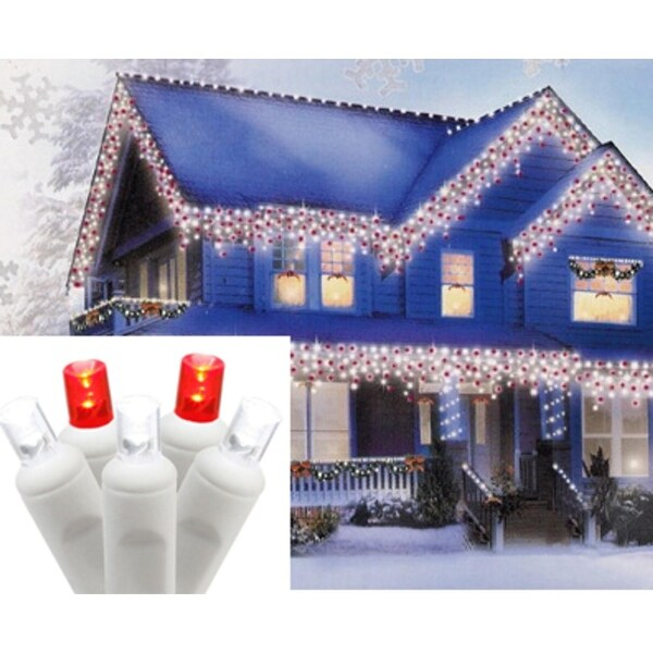 Set of 70 Pure White and Red LED Icicle Christmas Lights - White Wire