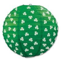 """Pack of 18 Green and White Shamrock Pattern Hanging Paper Lanterns 9.5"""""""