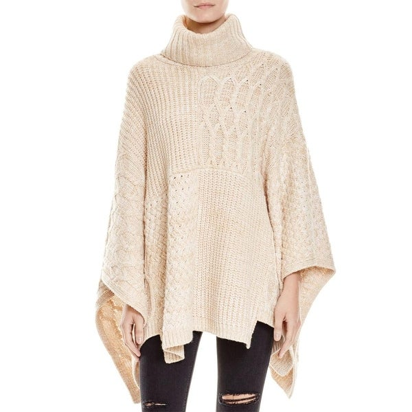 525 America Womens Poncho Sweater Turtleneck Two Tone - o/s