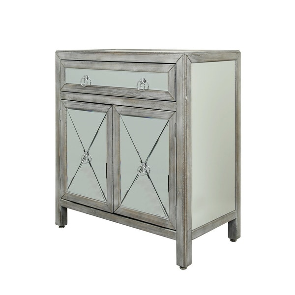 """StyleCraft SC-SF2037 30"""" Wide Single Drawer Glass and Wood Accent Cabinet with Mirrored Panels - Distressed Gray"""