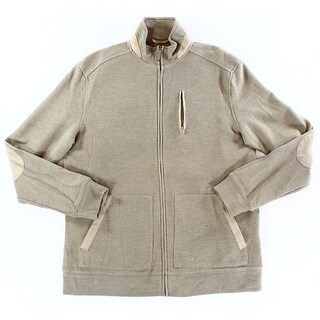 Tasso Elba NEW Brown Mens Size Small S Mock Neck Full Zip Sweater