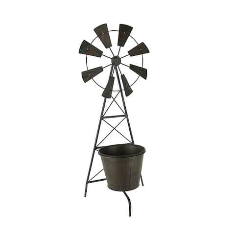 Distressed Metal Farmhouse Garden Windmill Trellis Planter with Pot - 23.5 X 9.5 X 5.75 inches