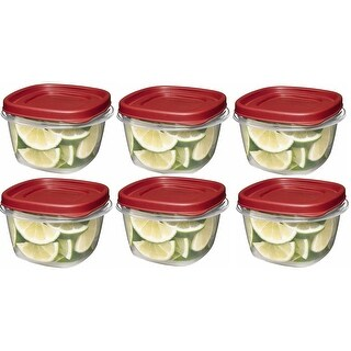 Rubbermaid 7J60 Easy Find Lid Square 2-Cup Food Storage (Pack of 6 Containers)