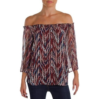 Ella Moss Womens Casual Top Silk Printed