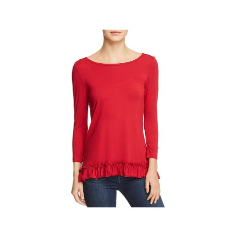 Love Scarlett Womens Pullover Top Ruffled Knit