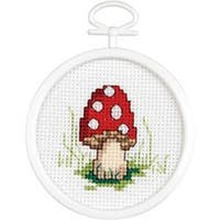 "2.5"" Round 18 Count - Mushroom Mini Counted Cross Stitch Kit"