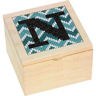 """4""""X4"""" - Monogram Wood Box Punched For Cross Stitch"""
