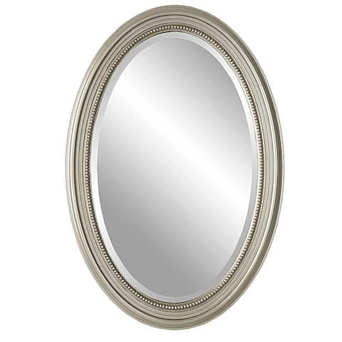 Metallic Silver Framed Bevel Wall Mirror - 31 x 21 x 1.25