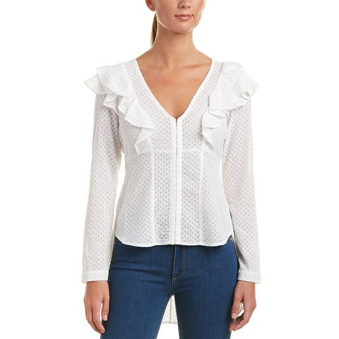 Bcbgmaxazria High-Low Embroidered Blouse