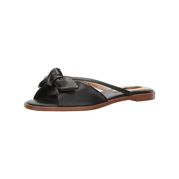 Kensie Womens Major Slide Sandals Flats Open Toe Black 8.5 Medium (B,M) - 8.5 medium (b,m)