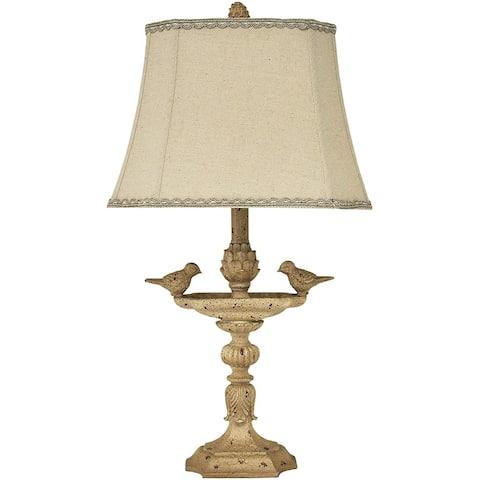 "26"" Natural Linen Bird Decoration Accent Table Lamp"