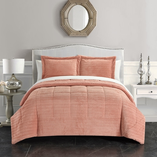 Chic Home Rajan 3 Piece Comforter Set Ribbed Textured Microplush Sherpa Bedding. Opens flyout.