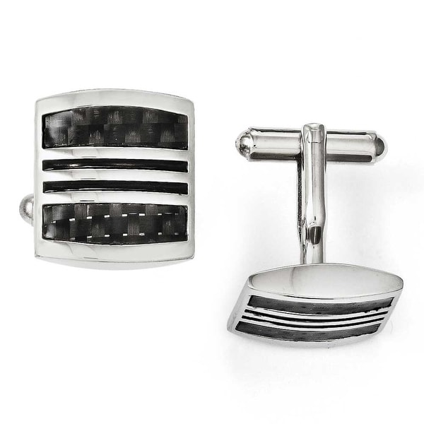 Chisel Stainless Steel Black Carbon Fiber & Black Enamel Cuff Links