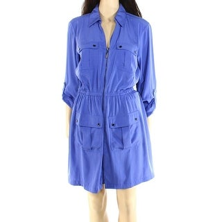 Alfani NEW Blue Women's Size 8 Tab Sleeve Utility Zip Front Shirt Dress