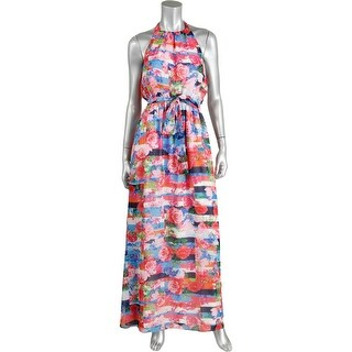 Jessica Simpson Womens Chiffon Floral Print Maxi Dress