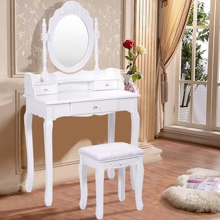 Costway White Vanity Wood Makeup Dressing Table Stool Set Bedroom With Mirror + 3 Drawer
