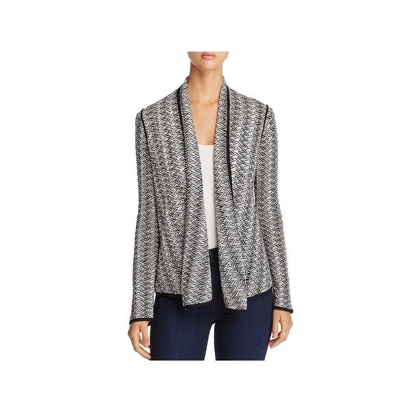 Nic + Zoe Womens Twinkle Cardigan Top Houndstooth Contrast Trim