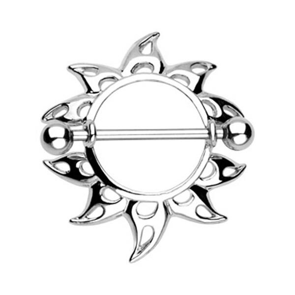 "Surgical Steel Rising Sunburst Nipple Shield Ring - 14GA 3/4"" Long (Sold Individually)"