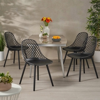 "Link to Lily Outdoor Modern Dining Chair (Set of 4) by Christopher Knight Home - 18.00"" W x 21.50"" L x 33.20"" H Similar Items in Dining Room & Bar Furniture"