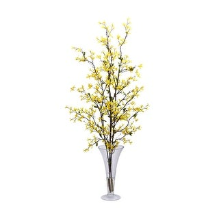 Nearly Natural Forstyhia with Vase Silk Flower Arrangement - Yellow