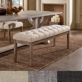 Link to Benchwright Premium Tufted Reclaimed 52-inch Upholstered Bench by iNSPIRE Q Artisan Similar Items in Kitchen & Dining Room Chairs