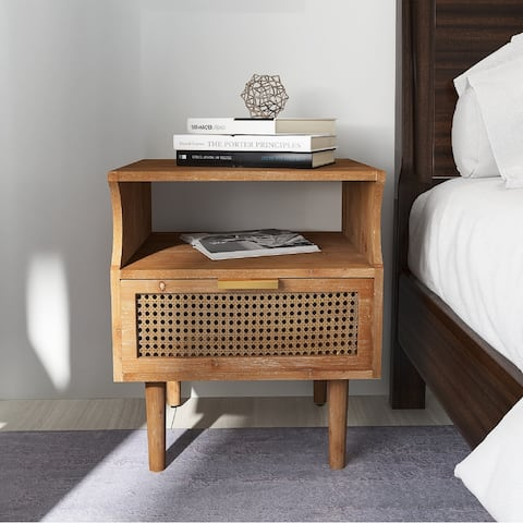 COZAYH Rustic Farmhouse Woven Fronts Nightstand, Spacious Storage End Table With 1 Drawers