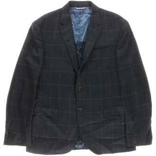 Tommy Hilfiger Mens Wool Checkered Two-Button Blazer