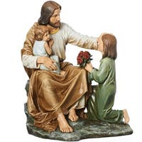 "14"" Joseph's Studio Jesus with Children Religious Table Top Figure - Brown"
