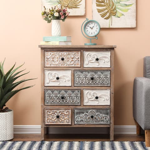The Curated Nomad Brewa Varied Rustic Carved Wood 8-drawer Chest