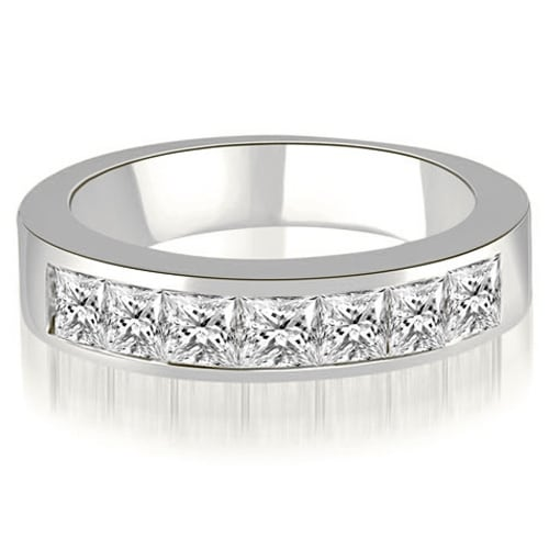 1.00 cttw. 14K White Gold Princess Diamond 7-Stone Channel Wedding Band
